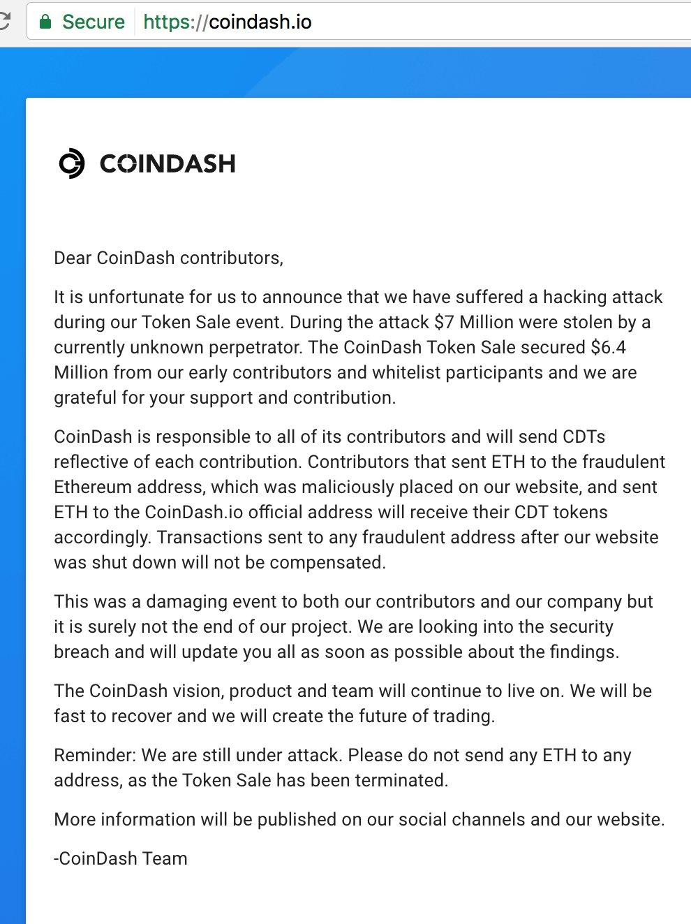 Hacker Steals $7 Million Worth of Ethereum From CoinDash Platform