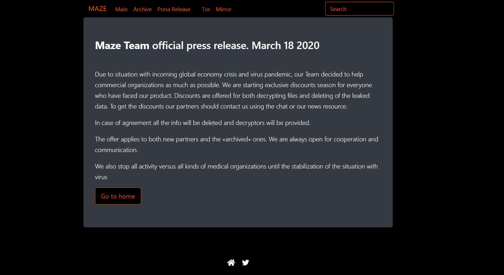 Maze Team Press Release