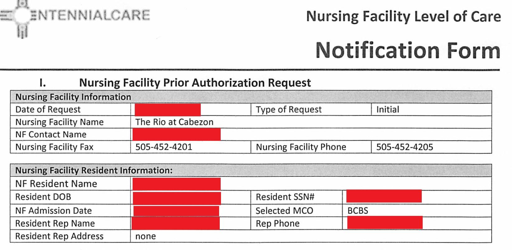 Nursing Facillity Level of Care Form