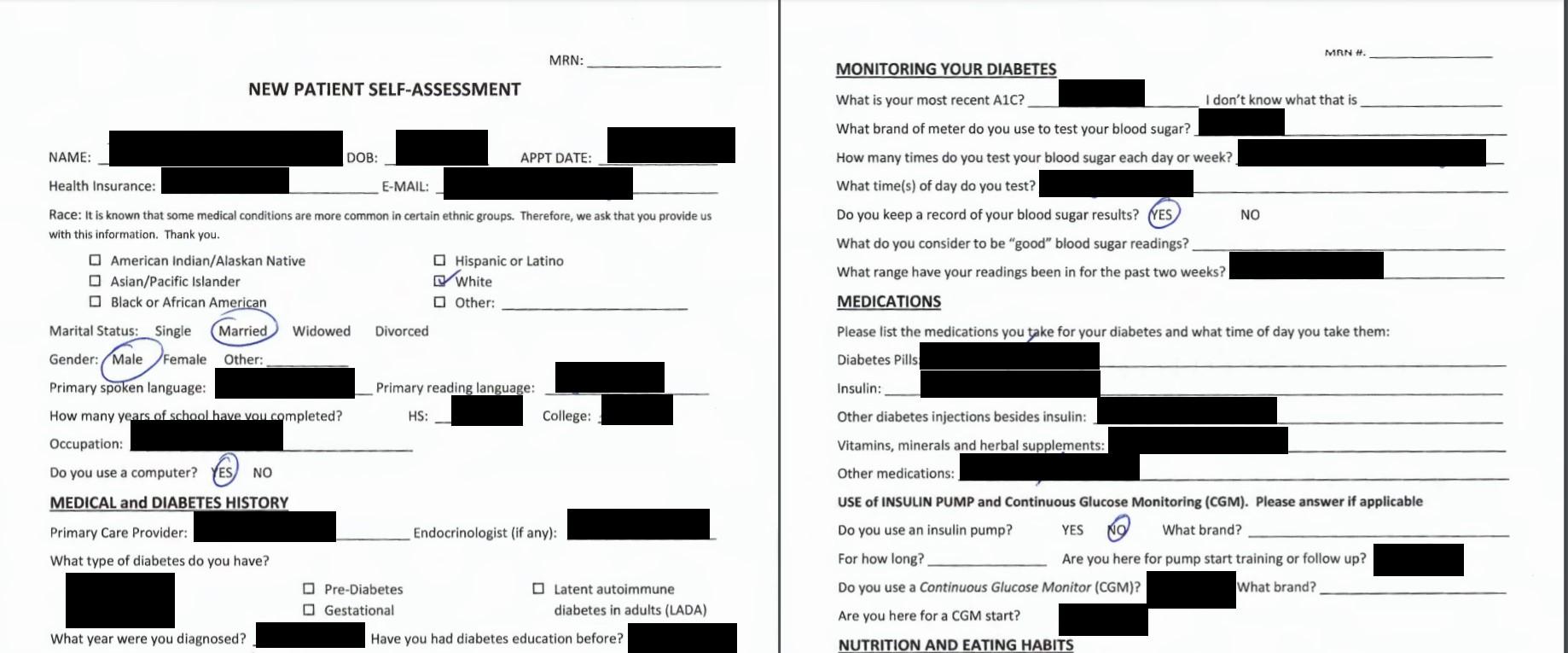 New patient self-assessment form (partial)