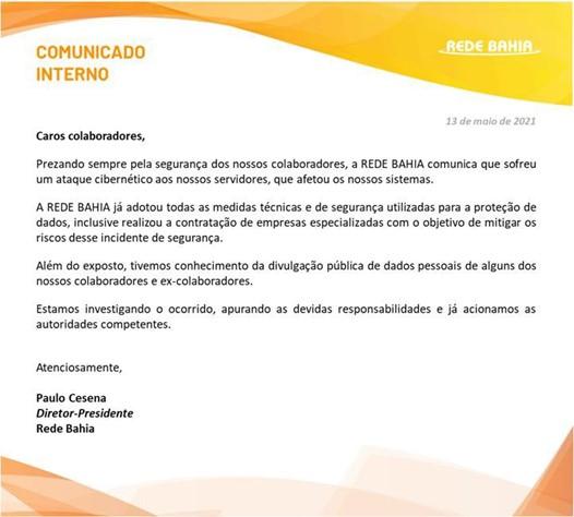 Rede Bahia Memo to Employees