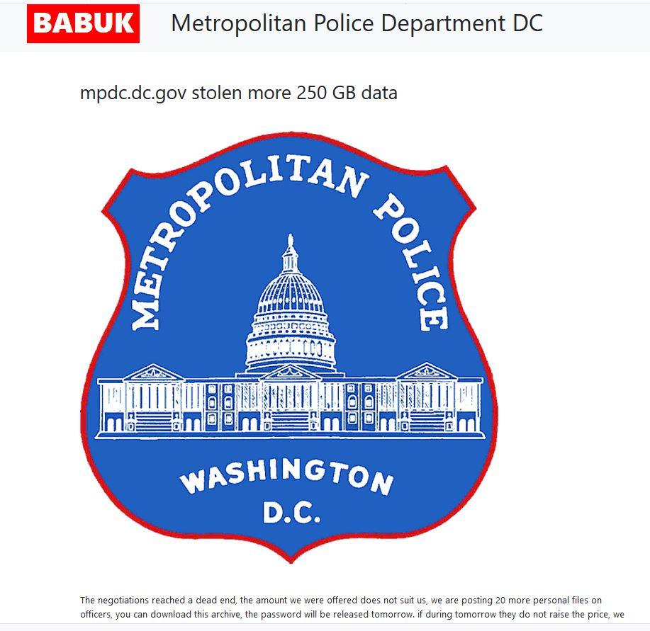 Babuk Re-lists Metrpolitan Police