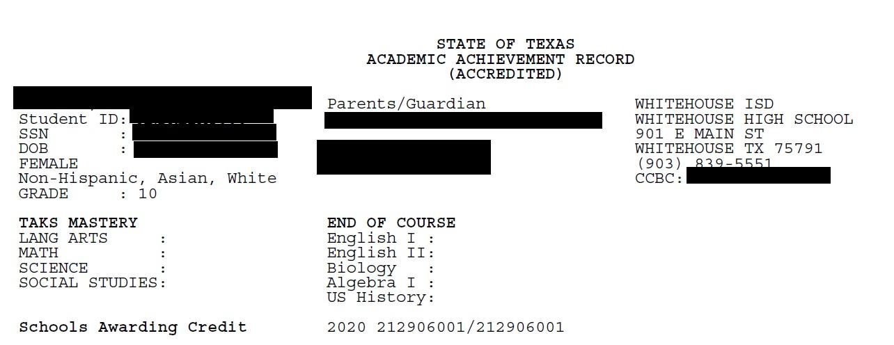 Texas Achievement Record