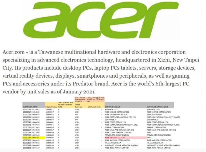 Acer Listing - REvil