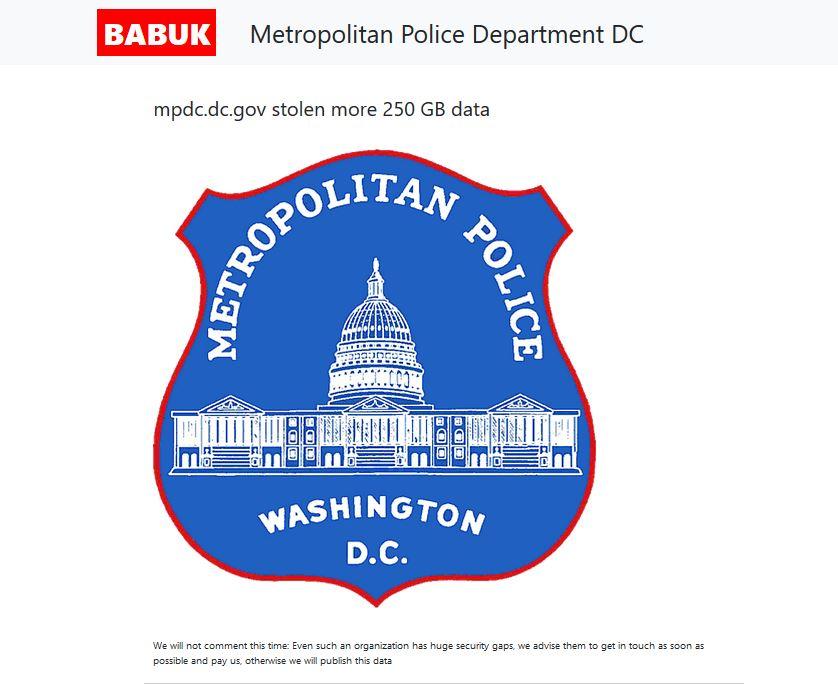 Babuk lists Metropolitan Police D.C.
