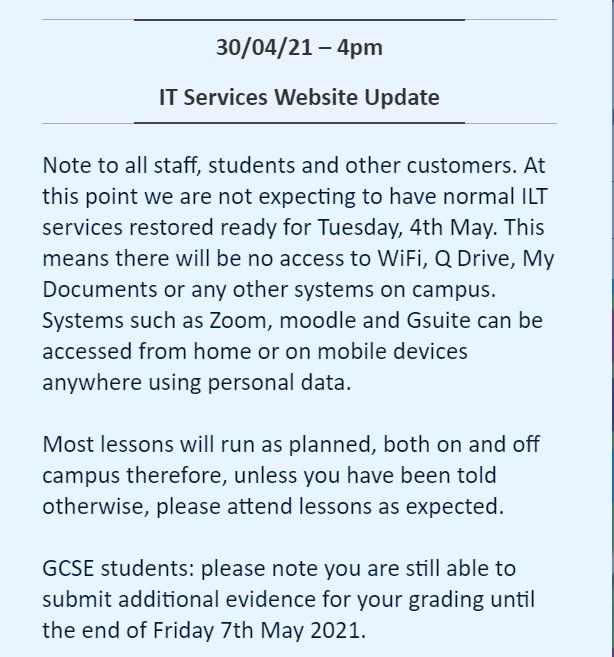 Colchester Institute Notice