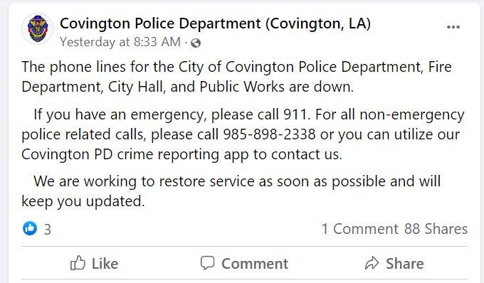 Covington FB Post