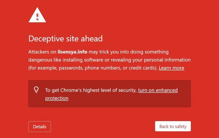 Google warns you about lisensya.info